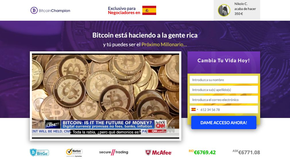 Bitcoin Champion fiable o estafa